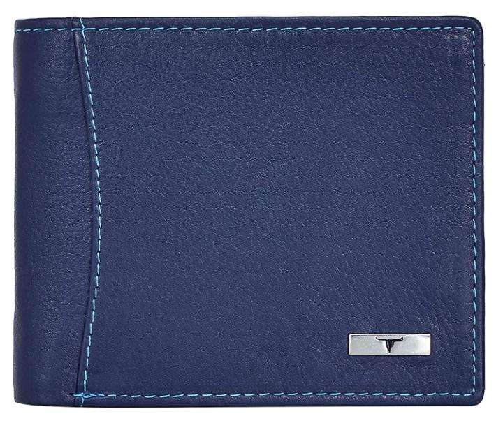 Urban Forest Oliver RFID Blocking Blue Leather Wallet for Men