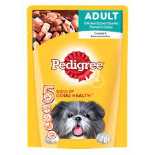 Pedigree Adult Wet Dog Food, Chicken and Liver Chunks in Gravy, 30 Pouches (30*80g)