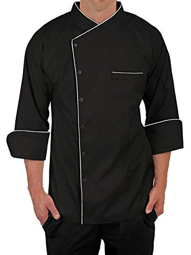 Chef Coat for Men White Single Breasted with Black Piping and Black Buttons