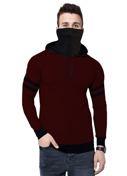THE ARCHER Solid Men Hooded Neck with Mask T-Shirt
