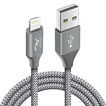 Wayona Nylon Braided WN3LG1 USB Syncing and Charging Cable for iOS Devices (3 FT Pack of 1, Grey)