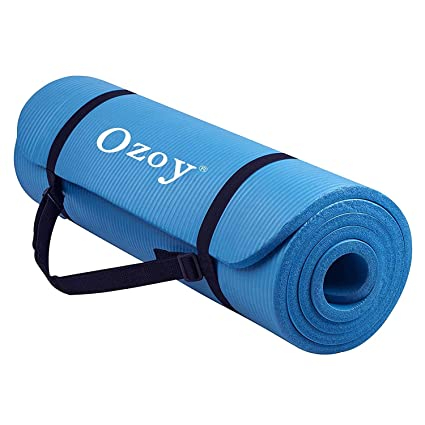 Ozoy 13mm Extra Thick Yoga and Exercise Mat Anti Skid with Carrying Strap for Gym Workout and Flooring Exercise With bag