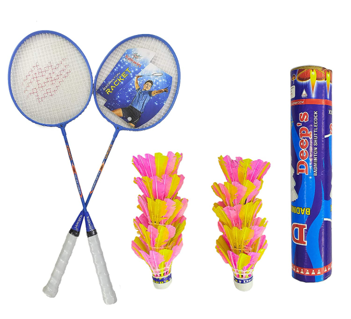Steel Badminton Racket Kakwin Wide Body Frame Set of 2 Piece with Deep's 10 Piece Feather Shuttlecock Combo Pack (Colour May Vary)