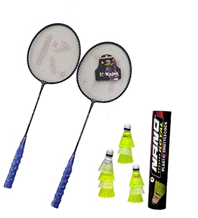 Badminton Racket Trainer Single Steel Shaft with Nano Plastic Shuttlecock ( Colour May Vary ) - 10 Piece Combo Set of 2 Pieces