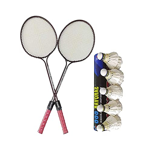 ZANGOORA Badminton Racket Double Rod Set of 2 Piece (1 Pair) with 10 Piece Feather Shuttlecock Nano Combo Pack