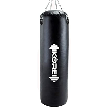 KORE Ultimate (2 Feet /3 Feet /4 Feet) Filled / Unfilled Heavy Punching Bag (PU/SRF) Material Boxing MMA Sparring Punching Training Kickboxing Muay Thai with Rust Proof Stainless Steel Hanging Chain
