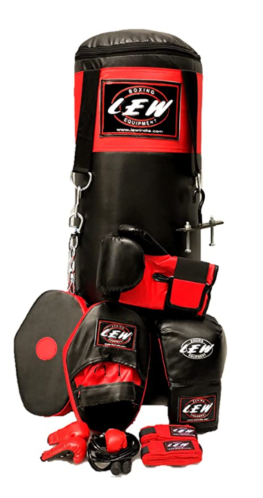LEW Punching Bag 9 Piece Boxing Set Filled with Heavy Bag Gloves Ceiling Hook Chains Hand Wraps Training Kickboxing Muay Thai MMA Punching Bags