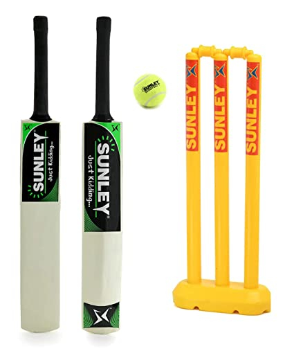 GRS Kids Zone Popular Willow Cricket Bat with Wicket Set & 1 Tennis Ball for Kids