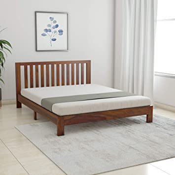 Amazon Brand - Solimo Petra Solid Sheesham Wood Queen Bed (Teak Finish)