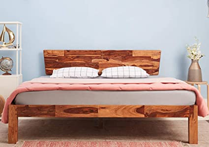Wakefit King Size Auriga Sheesham Wood Bed Without Storage (Solid Wooden Texture_Natural Finish) - 78 x 72 inch / 6.5 x 6 feet