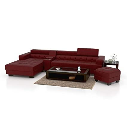 FUNTERIOR L Shape Magestic Leatherette Sofa Set (Red)