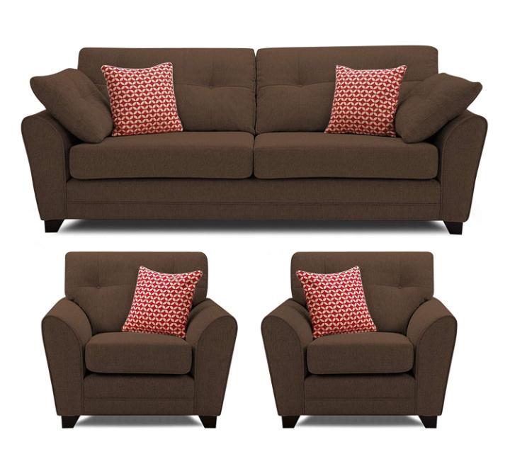 SofaArchitect (3 Years Warranty) Moris 5 Seater 3+2 Fabric Sofa Set (Brown)