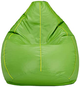 Amazon Brand - Solimo XXXL Bean Bag Filled With Beans (Green with Yellow Piping)