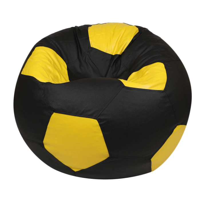 Skyshot Football Shape Classic Bean Bag Filled with Beans/Fillers (Black & Yellow, XXXL)