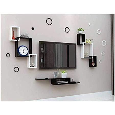 Craftcity TV Entertainment Unit Set Top Box Wall Stand Home Decor Wall Shelf Wooden Racks Wall Décor Black & White 1 Set Top Box Stand and 2 Interconnect & 10 Wall Stickers Rings (Interconnect)