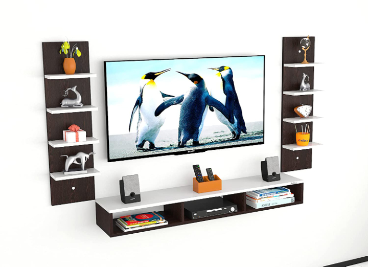 Anikaa Ancort Wooden TV Entertainment Unit/Wall Set Top Box Shelf Stand/TV Cabinet for Wall/Set Top Box Holder for Home/TV Stand Unit for Wall for Living Room (Wenge/White) (Ideal for 42-52 Inch)
