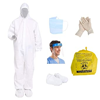 Prifix ppe kit medical Personal Protective Equipment ki SITRA & CE Certified PPE KIT with Full Body Coverall suit with,Complete PPE kit for Doctors - PPE kit (white)