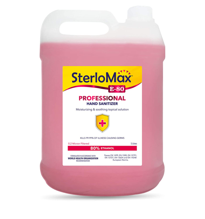 Sterlomax 80% Ethanol-Based Hand Rub Sanitizer and Disinfectant, 5 L, Pink
