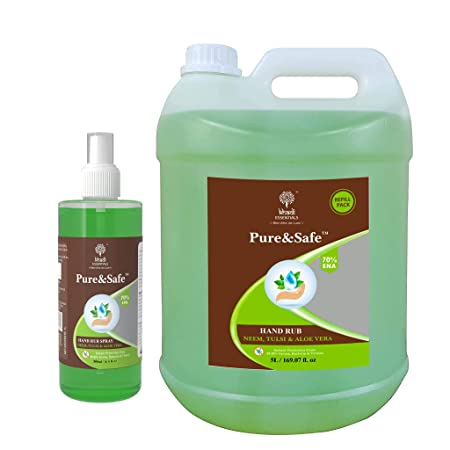 Khadi Essentials Pure&Safe Sanitizer 5 Liter Combo Instant Hand Sanitizer Liquid Spray with Refill Pack 70% Ethyl Alcohol, Neem, Tulsi & Aloe Vera Extracts with Glycerine (5ltr Bottle + 500mL Spray)