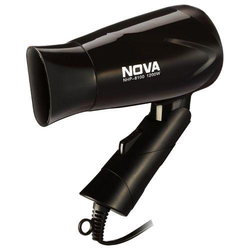 Nova NHP 8100 Silky Shine 1200 Watts Hot and Cold Foldable Hair Dryer- Black