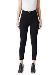 Miss Chase Women's Black Skinny Fringed Detailing High Rise Clean Look Solid Cropped Stretchable Denim Jeans