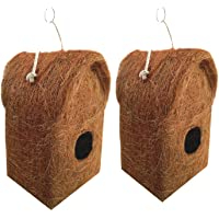 LIVEONCE Pure Nest Bird House Purely Handmade, Type -Coir, Color -Brown, Size (L 12 x W 12 X 20 cm),Set of 2