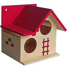PetNest Bird House for Balcony and Garden Hanging for Love birds, Sparrow, Hummingbird, Kingfisher Birds Nest for Balcony Made with High Quality Russian Wood with Hanging and Wall Patch Outdoor Decor for Attracting Birds Tomato Pink - DECO6