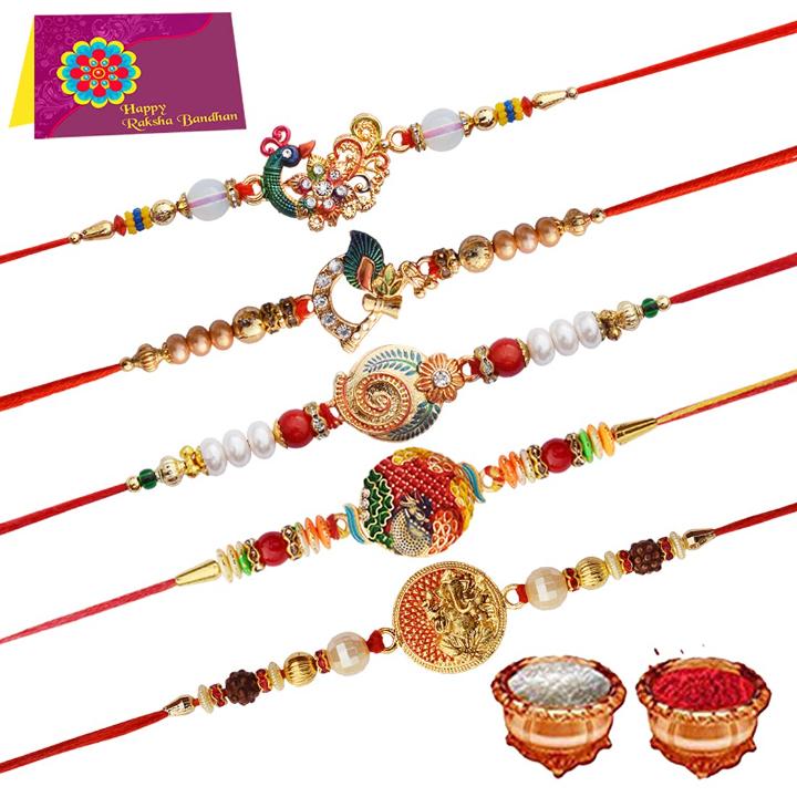 Tonkwalas Rakhi Festival Rudraksh Golden Stones with Small Plate for Men and Women - Pack of 5