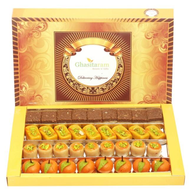 Ghasitaram Gifts Diwali Gifts Sweets- Kaju Sweets Assorted Box (800 gms)