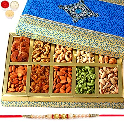 Ghasitaram Gifts Rakhi Gifts for Brothers Rakhi Dryfruits- Exotic Dryfruit Box of 10 Dryfruits with Pearl Rakhi