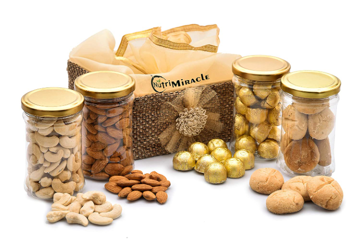 NUTRI MIRACLE 400gm Dry Fruit And Nut Gifts Basket With Other Goodies Rakhi/Birthday/Wedding/Anniversary/Thanks/Special Day/Corporate Gifting/Propose