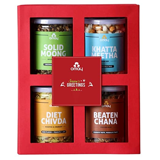 Omay Foods Crunchy Treats Gift Box I Pack of 4 Roasted Snacks: Healthy, Oil-Free I All Occasion Gift Box I Personal and Corporate Gift I Food Hamper I Snacks Box I Healthy Food Hamper I Perfect For Father's Day Gift
