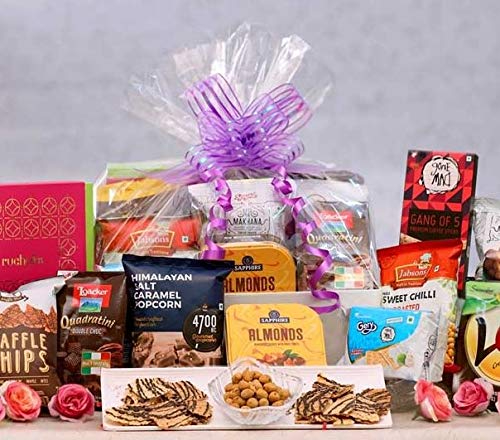 The Gift Tree Delightful Gourmet Gift Hamper   Snacks & Munchies, Sweet, Salty & Tangy Gift Hamper   Cookies, Crackers, Corn , Chocolates, Waffles, Peanuts etc   Gift for Birthday, Anniversary