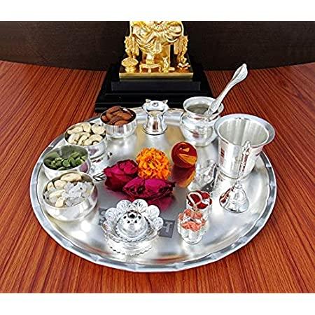 GoldGiftIdeas 12 Inch Sarovar Silver Plated Pooja Thali Set, Occasional Gift, Pooja Thali Decorative, Wedding Gift, Diwali Pooja metal Thali Set