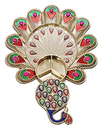 iKreation Acrylic Peacock Shape Haldi Kumkum Holder/Rakhi Platter/Pooja Thali (Gold_16 x 16 cm)