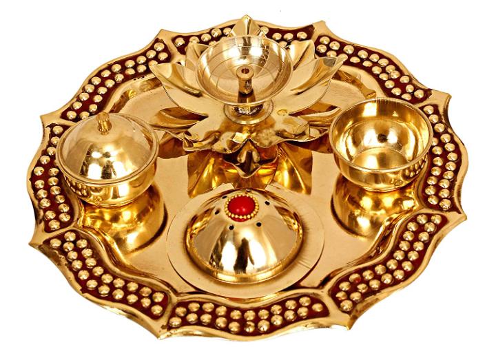INDIAN ART VILLA Brass Pooja Thali (1 x 8 inch, Gold)