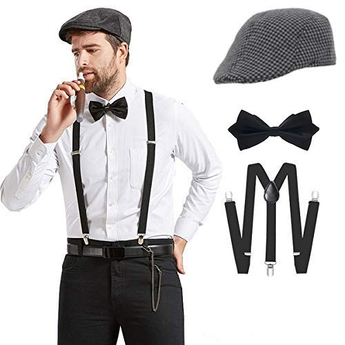 Clothera Suspender and Diamond Bow Tie Set with Flat cap for Men
