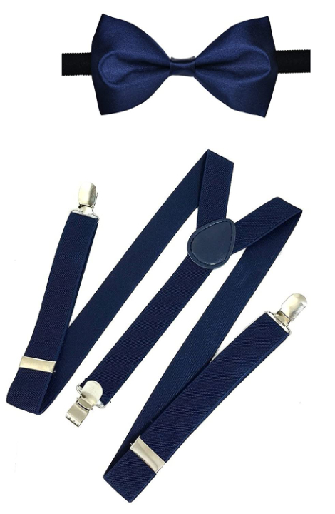 Michelangelo NAVY BLUE Bow Suspender Pocketsquare Combo For Men