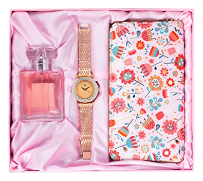 Avighna Women's Clutch, Watch With Perfume (AG-A69_Multicolored)