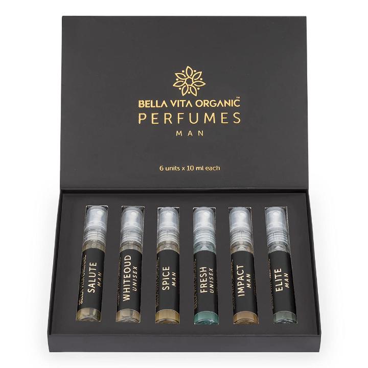 Bella Vita Organic Man Perfume Gift Set for Men 6x10 ml Perfumes Luxury Scent with Long Lasting Fragrance