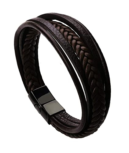 ZIVOM The Jewelbox Braided Multi-Layer Wrap Matte Brown Leather Wrist Band Strand Friendship Day Bracelet for Men