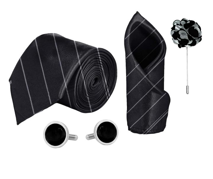 Blacksmith Tie , Cufflink , Pocket Square , Lapel Pin , Set of 4 for Men