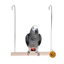 Sage Square Playful Natural Perch Wood Perch Swing Toy Cage Hanging Platform, Exercise, Climbing Perch for Birds (Large)