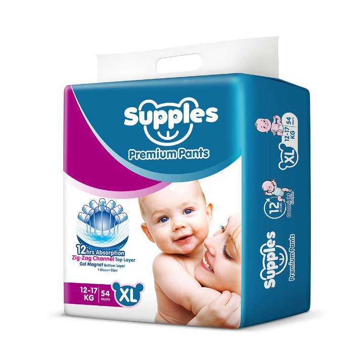 Supples Baby Pants Diapers, X-Large (12-17 kg), 54 Count