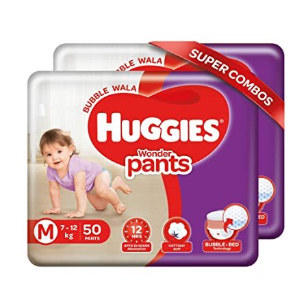 Huggies Wonder Pants, Medium (M) Size Baby Diaper Pants, 7 - 12 kg, Combo Pack of 2, 50 count Per Pack, 100 count, with Bubble Bed Technology for comfort
