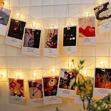 TECHNO E-TAIL Copper LED String Lights, White, 20 Photo Clips