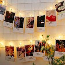 NOVALUC 20 LED Photo Clip String Lights, Plug in Hanging Fairy Lights for Home Decoration (Warm White)
