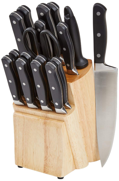 AmazonBasics Premium Stainless Steel Knife Set with Block, 18-Pieces (17 Knives and 1 Wooden Block) , Black