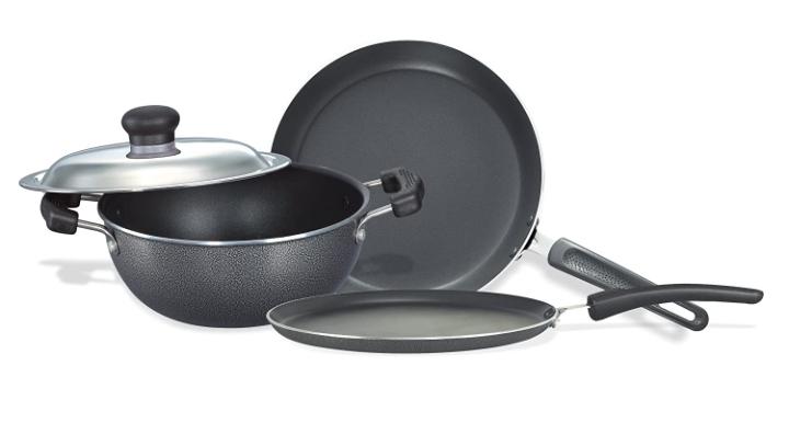Prestige Omega Select Plus Residue Free Non-Stick Kitchen Set, 3-Pieces, black/Silver, Aluminium