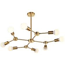 World of Chandelier Brass Mid Century Modern Semi Flush Mount Ceiling 8-Light Fixtures for Dining Kitchen Living Room and Hallway